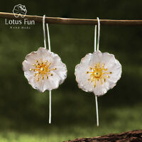 Handmade Big Blooming Poppies Flower Dangle Earrings 925 Sterling Silver Jewelry