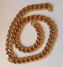 1 x Gold Plated Unfinished Flat Link Curb Chain - 39.2 cm long - 10 mm links