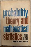 """PROBABILITY THEORY AND MATHEMATICAL STATISTICS"" Marek Fisz 1963 Hardcover W/ DJ"