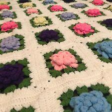 Vintage Handmade Crochet 3D Flowers Rosettes Granny Squares Afghan Throw White