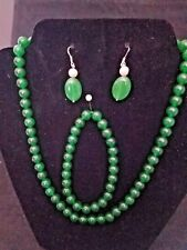 """Natural 8mm Green Jade Round Beads Necklace/Bracelet & Earring set 18"""" AAA"""