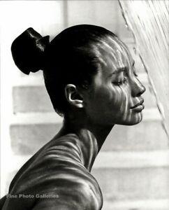 1988 HERB RITTS Fashion Model CHRISTY TURLINGTON By Waterfall Duotone Art 11x14