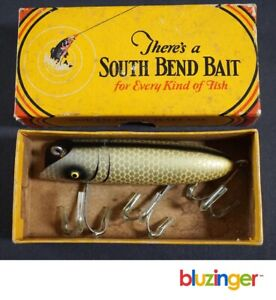 SOUTH BEND BASS-ORENO Vintage Wooden Fishing Lure w/ Box