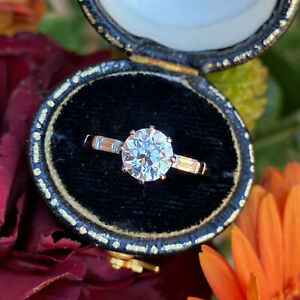 Art Deco Old Cut Diamond Solitaire Engagement Platinum Ring 1.10ct