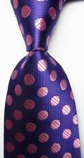 New Classic Polka Dot Purple Pink JACQUARD WOVEN 100% Silk Men's Tie Necktie