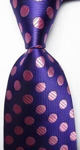 New Classic Polka Dot Purple Pink JACQUARD WOVEN 100% Silk Men's Tie Necktie
