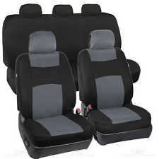Car Seat Covers - Gray / Black Polyester Cloth - Front & Rear Bench 9 Piece  Set