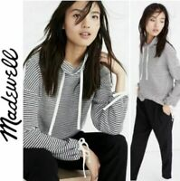 Mile(s) by Madewell Funnel Neck Black and White Striped Sweatshirt Size Medium
