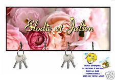 accroche clés mural en bois shabby roses réf 01 personnalisable texte prénom