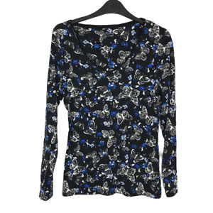 George Size 14 EUR 42 Black Butterfly Print Stretch Long Sleeve Cotton Top NEW