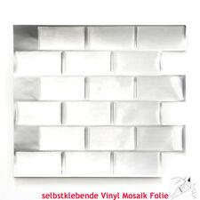 Mosaikkleber Vinyl Steel Subway 40er Pack Küche Wand Art:Vinyl-24002 | 40 Matten