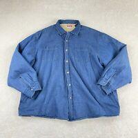 Wrangler Premium Quality Shacket Mens 2XL Blue Faux Fur Lining Outdoors Button
