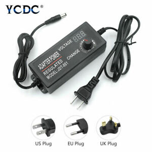 Universal Adjustable Power Supply Adapter LED Volt Display AC/DC 3-24V US/EU/UK