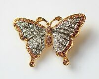 BROOCH butterfly with pink and transparent rhinestones