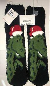 MENS NWT OLD NAVY Christmas OS Cozy SOCKS T-Rex Dinosaur SANTA Claus stocking