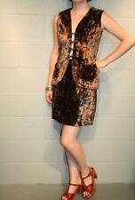 S~M MOD 2pc Vtg 60s Vest Mini Skirt SUIT Shiny Brown Faux Fur Dress Outfit