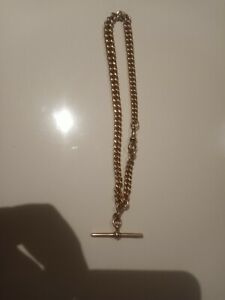 Solid 9ct gold Albert chain, 48g, womens, mens, childrens, necklace, t bar
