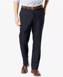 Dockers Signature Khaki Classic Pants Lux Cotton Stretch Flex Waist Navy Blue