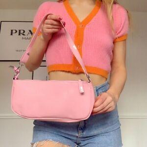 Pink PU Faux Leather y2k 90s Shoulder Bag