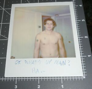 1990's Shirtless Muscle Man POLAROID w/ CAPTION Vintage Gay Int Snapshot PHOTO