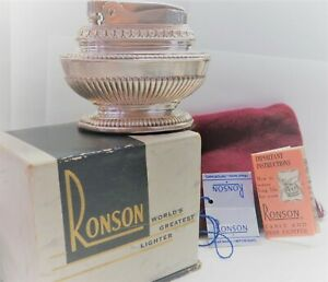 Vintage Ronson Queen Anne Table Lighter with Original Box, Pouch, Paperwork