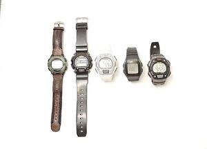 Lot of 5 Timex Casio Men's Digital Watches Chronograph Alarm Sport Date Day