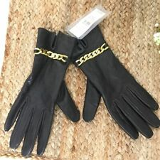 LOFT New black leather gold accent gloves