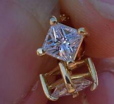 .80cts H/Si1 Princess diamond stud earrings screwback 18k YG