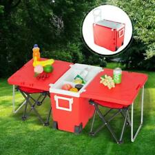Foldable Multi Function Rolling Cooler Table Picnic Camping Party W/ Chair*2