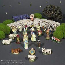 Vintage French Provence Feves Miniature Creche Santons Nativity Figurines 24 pcs