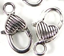 27x13mm Large Silver Pewter Striped Heart Lobster Claw Clasps (5) ~ Lead-Free