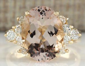 5.00 Carat Natural Morganite 14K Yellow Gold Diamond Ring