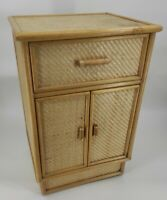 Cane Wicker Bamboo Woven Rattan Vintage Cabinet Floor Standing Retro Boho Style