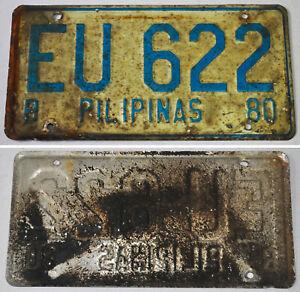 1980 Philippines PILIPINAS LICENSE CAR BLUE PLATE (DIPLOMATIC)  # EU 622
