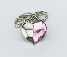 8GB Portable Shiny Light Pink Crystal Heart Shape USB Flash Drive with Necklace