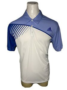 Adidas Golf Large L Purple White CLIMALITE Men's Casual Athletic Polo Shirt