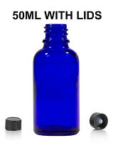 264pcs 50ml Blue Glass Bottle for Essential Oils/Aromatherapy Blends with lids