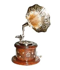 Wooden Antique Round Model Gramophone Brass inlaid work Home Decor Gift Item