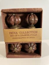 New SET of 4 DRAWER PULLS Wooden  Wood HANDCRAFTED Made in INDIA KNOBS Brown