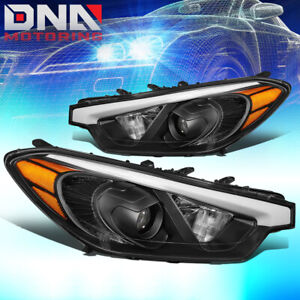 FOR 2014-2016 FORTE 5 KOUP PROJECTOR FRONT DRIVING HEADLIGHT LAMPS BLACK/AMBER