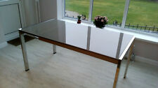 FENWICK ITALIAN GLASS & STAINLESS STEEL EXTENDABLE DINING TABLE
