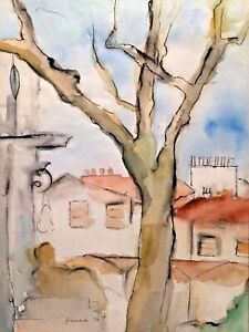 FRANCIA SMITH 1972 AVINGON FRANCE IMPRESSIONIST LANDSCAPE WATER COLOR PAINTING