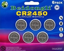 CR2450 LITHIUM BATTERIES. BEIDONGLI 650 mAh 3V for WATCHES LED CANDLES Etc. 6pcs