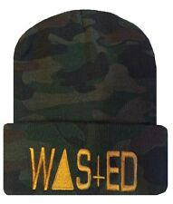 """Camo/Gold TRENDY COOL HIP CUFFED """"WASTED"""" BEANIE Beanies HAT SKULL CAP"""