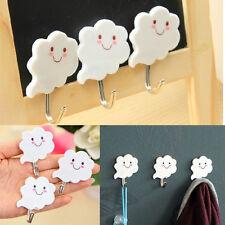 3Piece White Cloud Adhesive Sticky Stick On Kitchen Bathroom Towel Holder Hanger