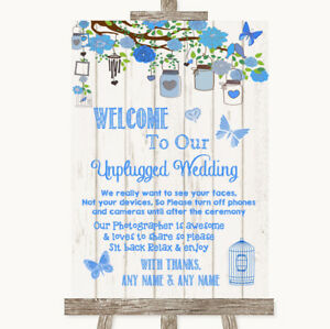 Wedding Sign Poster Print Blue Rustic Wood No Phone Camera Unplugged