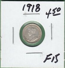 1918 Canadian 5 Cents Silver Coin - F-15