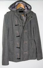 MEN'S Grey Wool Hooded Duffle Style Military Coat in excellent condition RRP$580