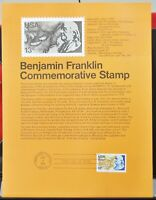 USPS 1976 First Day Issue Souvenir Page, Benjamin Franklin - $0.13