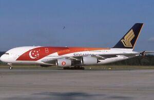 Singapore Airlines Airbus A-380 special colors 9V-SKI - Original 35mm slide